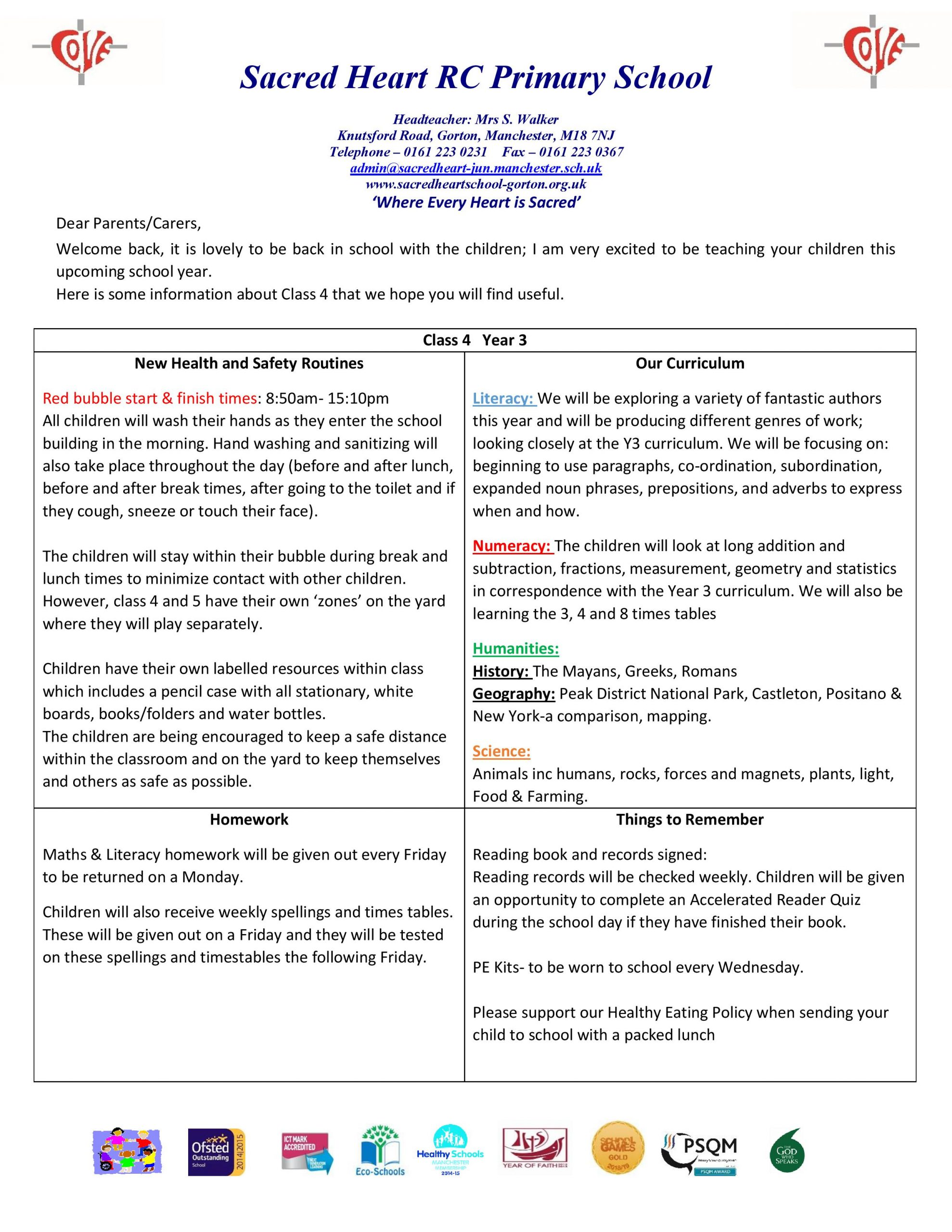 Class 4 Home Learning Guidance