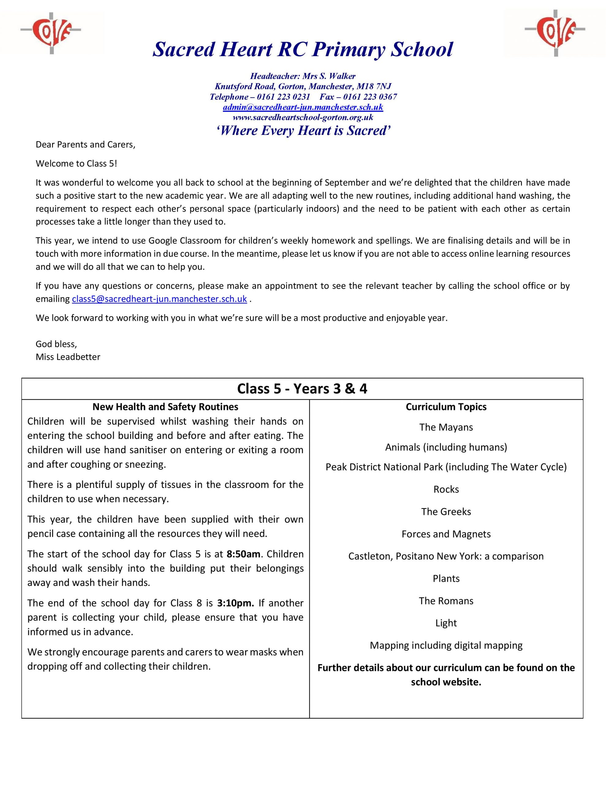 Class 5 Home Learning Guidance